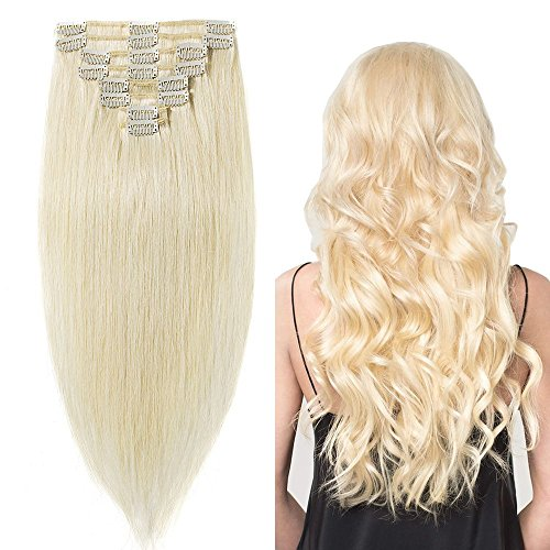 18 inch 100g Clip in Remy Human Hair Extensions Full Head 8 Pieces Set Long length Straight Very Soft Style Real Silky for Beauty #60 Platinum Blonde