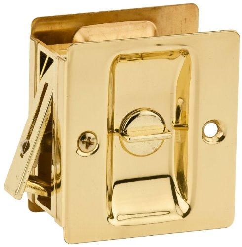 Kwikset 333-3 Notch Bed / Bath Privacy Pocket Door Lock - Polished Brass Finish Emergency Button Pocket Door Lock