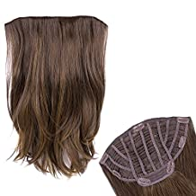 Ty.Hermenlisa 22inches 130g Long Wavy One piece Instant Synthetic Hair Clip in Extensions Women Hairpieces Add Length Volume Highlights Curly Wefts Accessory Mocha Brown