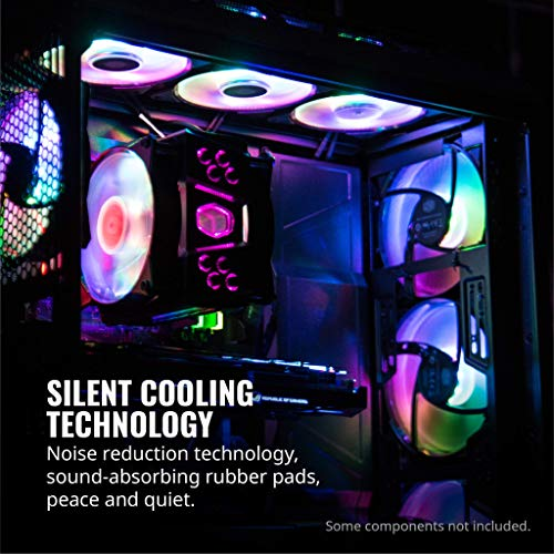 Cooler Master MasterFan MF120R ARGB 120mm 3 Pack Fan with Independently-Controlled ARGB LEDs, Absorbing Rubber Pads, Controller, PWM Control for Computer Case, CPU Liquid & Air Cooler R4-120R-203C-R1