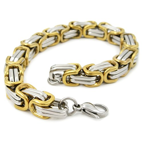 Stainless Steel 2 Tone Silver Gold Square Byzantine Chain Men Bracelet 8 inch