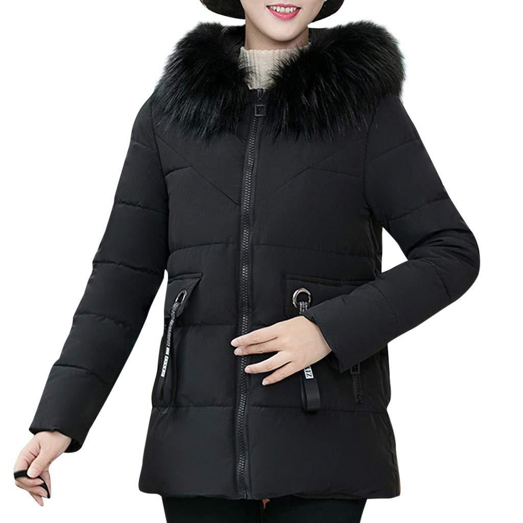 Eoeth Women Solid Zipper Long Sleeve Coat Faux Fur Shearling Shaggy Collar Hooded Down Jacket Winter Warm Print Cardigan Black by Eoeth