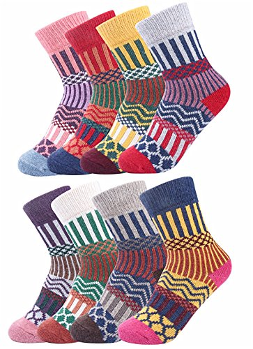 Luxina 8 Pairs Thick Wool Knitting Autumn Winter Socks for Women, Striped Geometric Patterned, One Size (Classic Tall Wool Boot)
