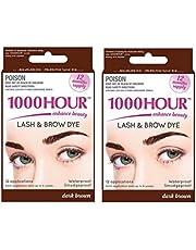 1000 Hour Combo Pack Eyelash & Brow Dye/Tint Kit Permanent Mascara (Dark Brown & Dark Brown)