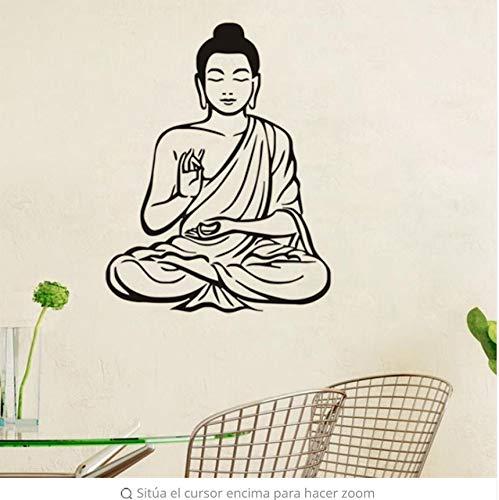 LSFHB Meditating Buddha Arte Pared Pegatinas Diseño Mural Budismo Vinilo Removible Decoración Del Hogar Del Papel -