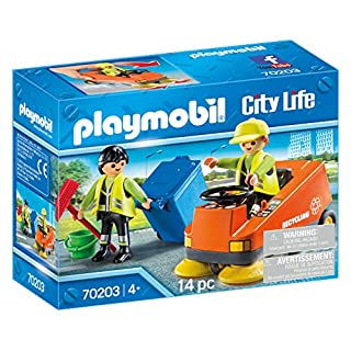 PLAYMOBIL 70203 City Life Sweeper 4 Years and Above Multi-Coloured One Size, Colourful, us:one Size