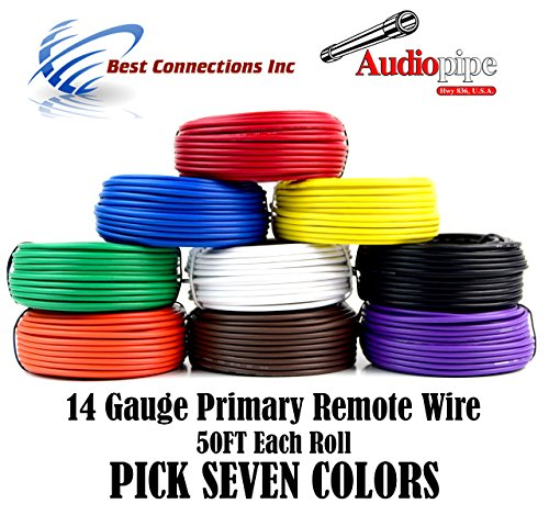 Trailer Light Cable Wiring Harness 50ft spools 14 Gauge 7 Wire 7 colors (Trailer Light Wire)