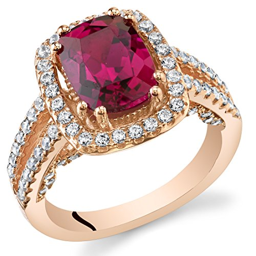 Created Ruby Rose Goldtone Halo Ring Sterling Silver 2.75 Carats Size 8 Pink Rose Gold Ruby