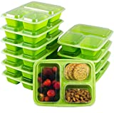 10-Pack Meal Prep Containers with Lids Bento Box 3 Compartment 35ounce Food Plastic Storage Containers with Lids To Go Lunch Containers BPA-Free Portion Control Microwave Dishwasher Safe