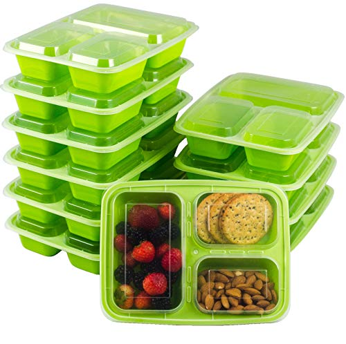 (10-Pack Meal Prep Containers with Lids  - Bento Box 3 Compartment 35ounce - Food Plastic Storage Containers with Lids - To Go Lunch Containers BPA-Free Portion Control Microwave Dishwasher Safe)
