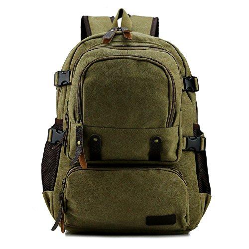 mefly nuevo Mochila de Tela de saco Hombres y Mujeres simples Capacidad de grandes dimensiones, Army green verde caqui