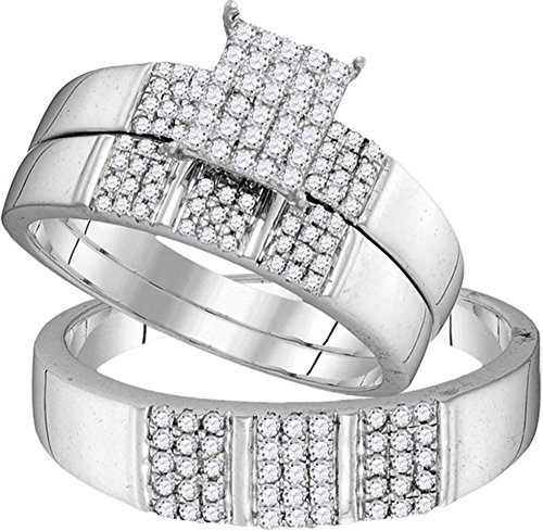 Sizes - L = 8, M = 9 - Solid 10k White Gold Round White Diamond Emerald-Shape Trio Engagement Ring Matching Mens Women Wedding Bands Set (.55 cttw)