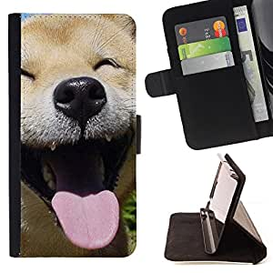 For Apple Iphone 6 PLUS 5.5 Happy Shiba Inu Dog Canine Leather Foilo Wallet Cover Case with Magnetic Closure