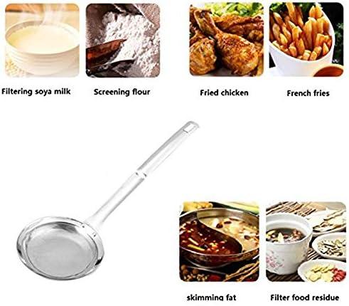 SODIAL Cucchiaio Skimmer Multifunzione per Pentole Calde Filtro per Alimenti Un Maglia Fine nel Acciaio Inossidabile per Grasso e Schiuma