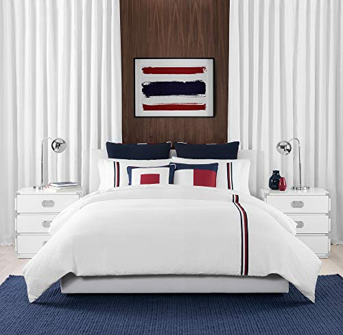 Tommy Hilfiger Signature Stripe Bedding Collection Comforter Set, Full Queen, White (Tommy Hilfiger Bedding Queen)
