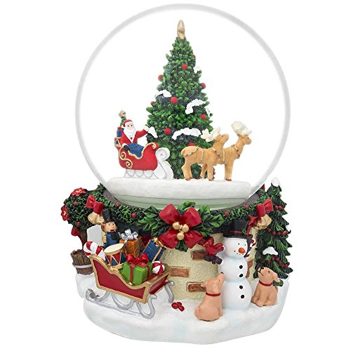 (BestPysanky Santa by Christmas Tree Rotating Musical Water Globe)