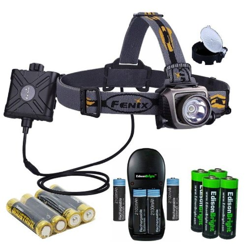 Fenix HP15 500 Lumen long throw LED Headlamp (Grey) with diffuser, Four rechargeable Ni-MH AA batteries, Charger and Four EdisonBright AA Alkaline batteries