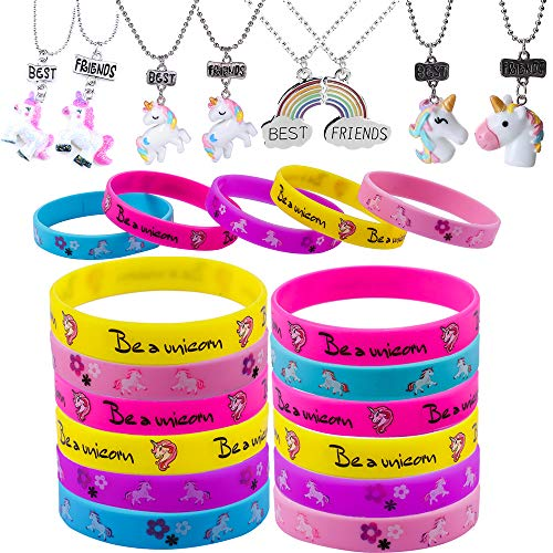 Unicorn Birthday Party Package, including Unicorn Bracelet Wristband and Good Friend Necklace for Children's Birthday Party(16+8pack)