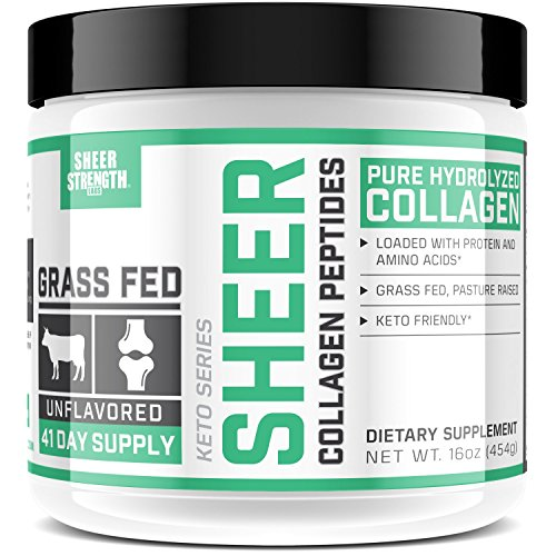 Premium Collagen Peptides - For Longer, Stronger Hair, Smoother Skin, & Healthy Bones, Joints, & Nails - Grass Fed, Paleo Friendly, Non-GMO - 16 oz Collagen Powder - Sheer Strength (Bone Sheer)