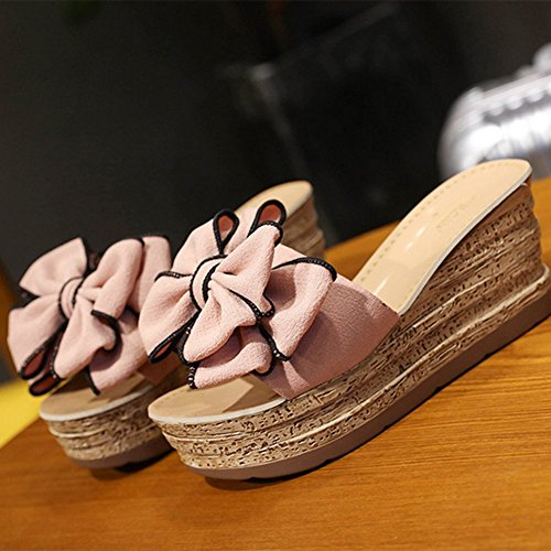 Bow Flops Thick Slippers Slope knot Flip Pink Crust beige With And High Sexy 37 Sandals heeled Summer OXx4wq