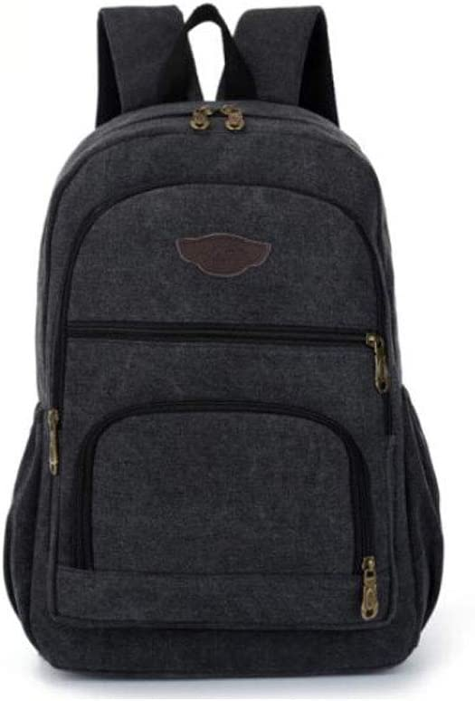 Chenjinxiang01 Large-Capacity Sports and Leisure Canvas Backpack Brown Color : Black
