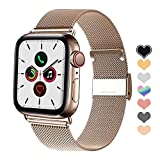 Letuboner Compatible for Apple Watch Band 38mm 42mm 40mm 44mm,Stainless Steel Mesh Magnetic Wristband Loop Replacement Bands for iWatch Series 4/3/2/1 (Rose Gold, 38/40mm)