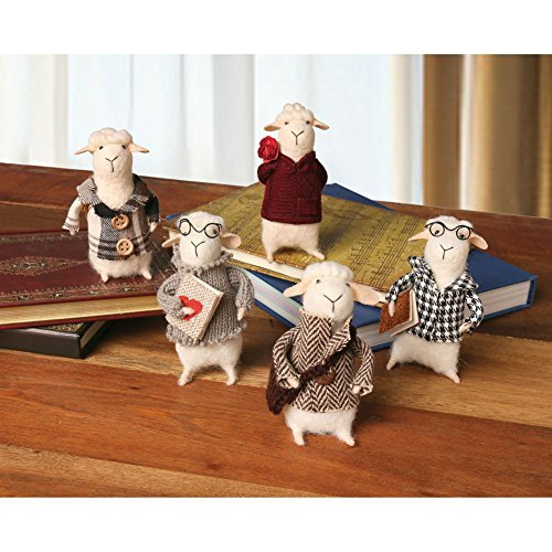 CATALOG CLASSICS Felted Wool Sheep in Clothes Decorative Figurines - Set of 5 Cute ()