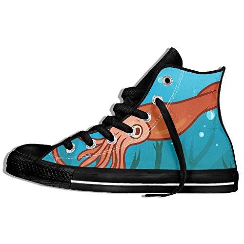 Classiche Sneakers Alte Scarpe Di Tela Antiscivolo Calamaro Gigante Casual Da Passeggio Per Uomo Donna Nero
