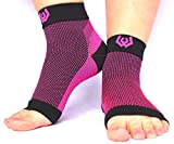 Webb Compression Plantar Fasciitis Compression Foot Sleeves (1 Pair) Men & Women by Heel/Arch/Ankle Support Sock (Pink/Black) Helps Improve Circulation, Reduce Swelling, Relieve Foot Pain (Small)