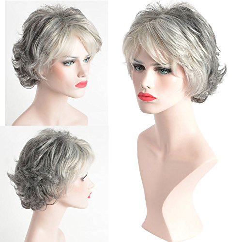 Gray Hair Wigs (YIMANEILI Short Curly Wigs for White Women - Gray Hair Bob Wig Heat Resistant Synthetic Fashion Wig (Gray))