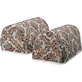 Classic Home Store Traditional Floral Tapestry Pair of Mini Round Armcaps Decorative Furniture Cover with Lace Trim