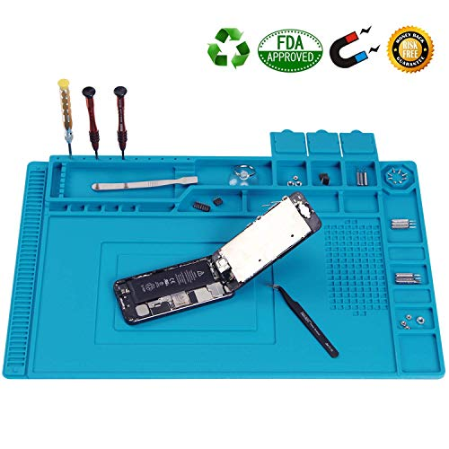 """Scout Heat Insulation Silicone Repair Magnetic Large Soldering Mat – Heat Resistant 500°C Electronics Workbench for Soldering Iron, Phone and Computer Repair (17.7"""" x 11.8"""", Blue) Price & Reviews"""