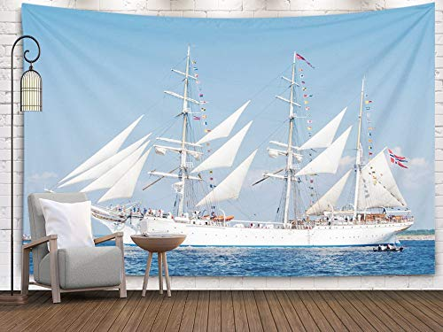 Large Tapestry,Wall Tapestry,Shorping 80x60Inches Home Art of Cotton for Décor Living Room Dorm LATVIA JULY 29 Regatta The Tall Ships Races 2013 Sailing ships are leaving the river Daugava and come to