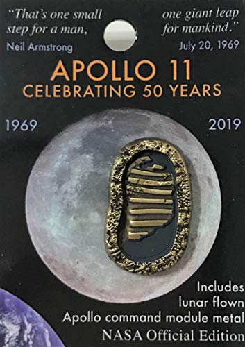 Nasa Apollo 11 Foot Prints 50th Anniversary Lapel Pin Contains Flown Command Module Metal That Went to the Moon ()