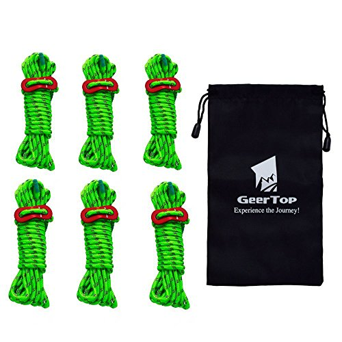 Geertop 6 Pack 4mm Reflective Tent Guide Ropes Lightweight Guy Line Cord with Guyline Adjuster Aluminum Tent Cord Tensioners for Camping Hiking Backpacking - Essential Camp Accessories 13 Feet Green