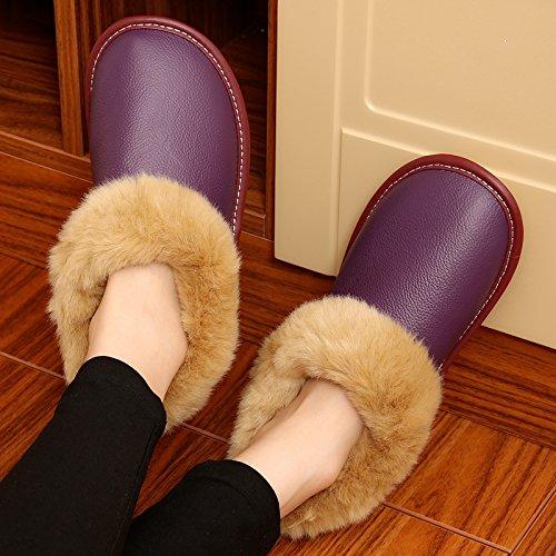 La première couche de coton d'hiver chaud chaussons hommes et femmes d'hiver séjour couple d'épaisseur, non-glisser la courroie suivi par le paquet avec chaussures coton ,27= (37-38), le purple