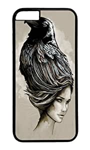 Apple Iphone 6 Case,WENJORS Adorable Raven Haired Hard Case Protective Shell Cell Phone Cover For Apple Iphone 6 (4.7 Inch) - PC Black