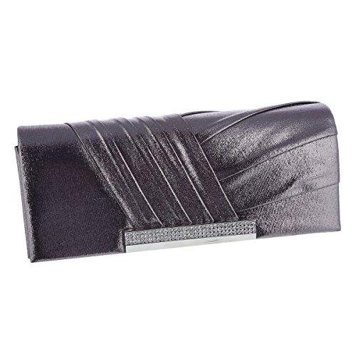 - Damara Womens Pleated Glitter Flap Evening Clutch Bag,Bronze