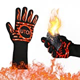 UTOI BBQ Grill Gloves, 1472°F Heat Resistant Barbecue Gloves Oven Mitts for Kitchen Garden BBQ Grilling and Outdoor Cooking Campfire