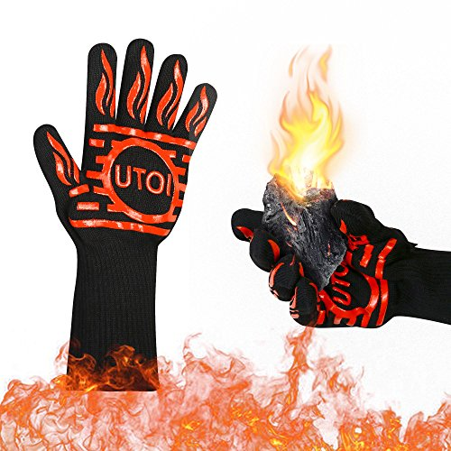 UTOI BBQ Grill Gloves, 1472°F Heat Resistant Barbecue Gloves Oven Mitts for Kitchen Garden BBQ Grilling and Outdoor Cooking Campfire, EN407 Certified, 1 Pair 13 inch Long Extra Forearm Protection (Cooking For Kitchen Fireplaces)