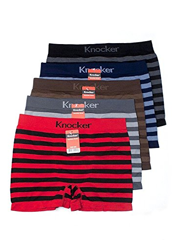 Nylon Stretchable Compression Boxer Brief 6-pcs Set, Assorted Colors (RUGBY, ONE SIZE)