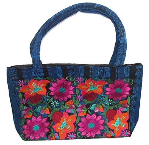 STIFF HANDLED CLOTH BOLD COLORFUL FLOWERS EMBROIDERED THREE POCKET SHOULDER PURSE W/STORAGE BEAUTIFUL (Dark Blue-Fuscia Flowers)