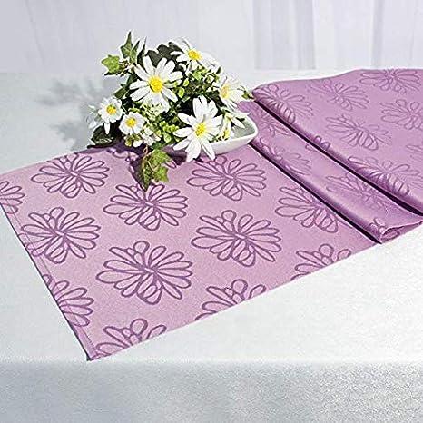Kamaca BLÜTEN Meer Markenqualität mit Lotus Effekt FLECKSCHUTZ Flüssigkeiten perlen einfach ab (Tischläufer 40x140 cm, Fliede