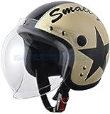 【レディース・キッズ】スモールジェットヘルメット バブルシールド付アイボリー/ブラック 54cm~57cm未満