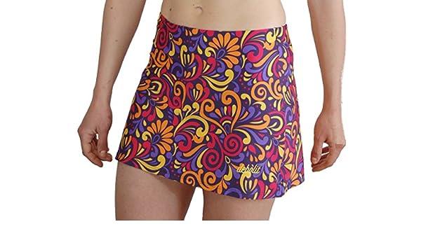 Faldas de Padel/Tenis con Pantalon. Estampada con Dibujos de Formas en Tonos en Violeta, Amarillo y fucsias, L: Amazon.es: Deportes y aire libre
