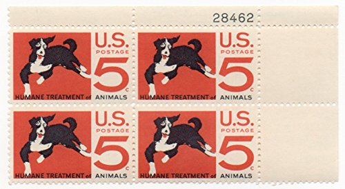 USA Postage Stamp Plate Block 1966 Humane Treatment Of Animals Issue 5 Cent Scott ()