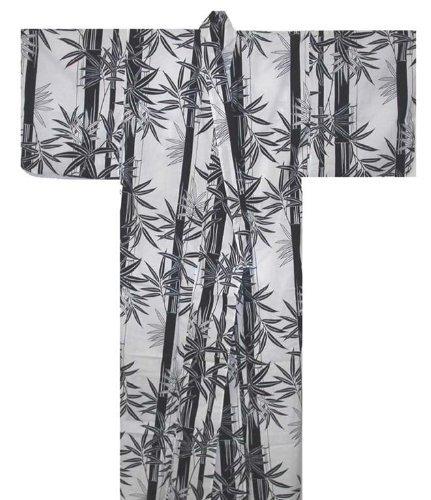 Japanese Women's Yukata Kimono Robe Bamboo White 58in Size L ()