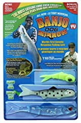 The Banjo 006 Minnow 110-Piece Fishing System includes 32 lifelike Banjo 006 Minnows in 3 sizes and 7 colors featuring Diamond Flash holographic glitter. Includes 4 new detachable swimming eyes, 3 weighted jig eyes, 9 weedless hooks, 60 weedg...