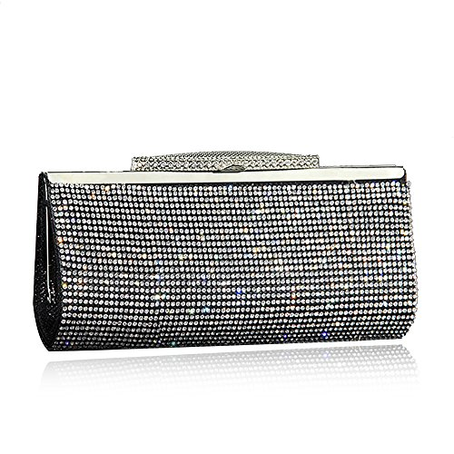with bag party shining bag diamonds Negro for hand elegant Hand bag Long style women metal crystals with chain A5dqtx