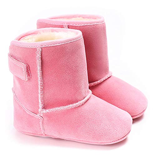 Cindear Infant Baby Boys Girls First Walker Shoes Suede Faux-Fur Lined Warm Winter Snow Boots for Newborn Baby Crib Shoes 1011 Pink 12-18 Months ()